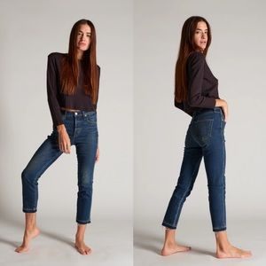 AMO Babe True Blue Wash High Rise Cropped Jeans 27